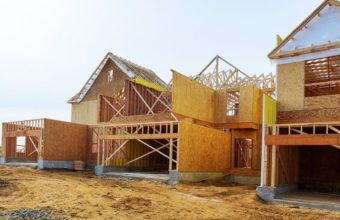 New-construction-of-a-house-Framed-New-Construction-of-a-House-Building-a-new-house-from-the-ground-up-cm